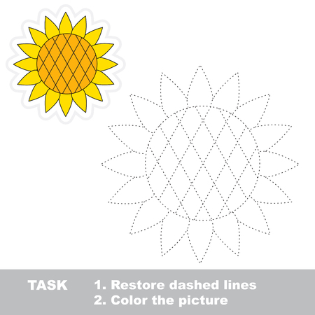 dashed: Sunflower in vector to be traced. Restore dashed line and color the picture. Illustration