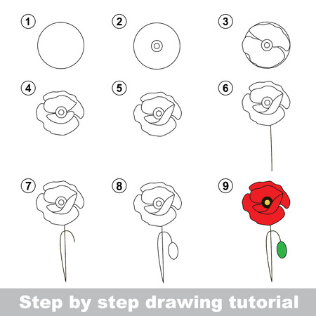 Step by step drawing tutorial. Vector kid game. How to draw a Poppy Ilustração