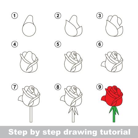 dessin au trait: Etape par étape dessin tutoriel. Vector kid jeu. Comment dessiner une Rose