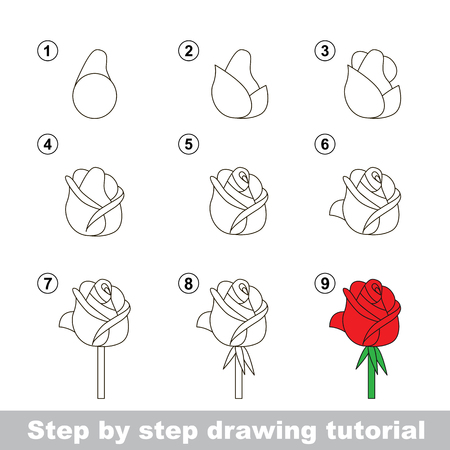 Step by step drawing tutorial. Vector kid game. How to draw a Rose Ilustração