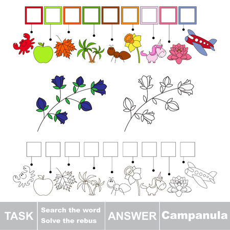 campanula: Vector rebus game. Task and answer. Solve the rebus and find the word Campanula
