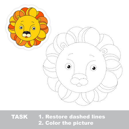 dashed line: Lion in vector to be traced. Restore dashed line and color the picture.