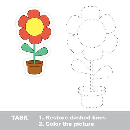 dashed line: Flower in vector to be traced. Restore dashed line and color the picture.