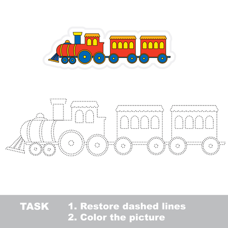 restore: Train in vector to be traced. Restore dashed line and color the picture.