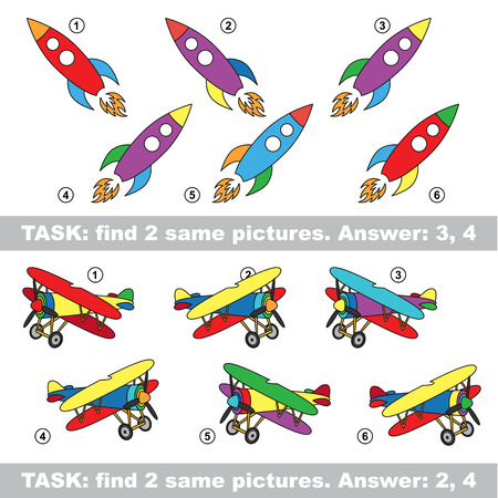 similar: Design different, color equal.  Vector visual game. Task and answer. Find two similar Rocket and Plane Illustration