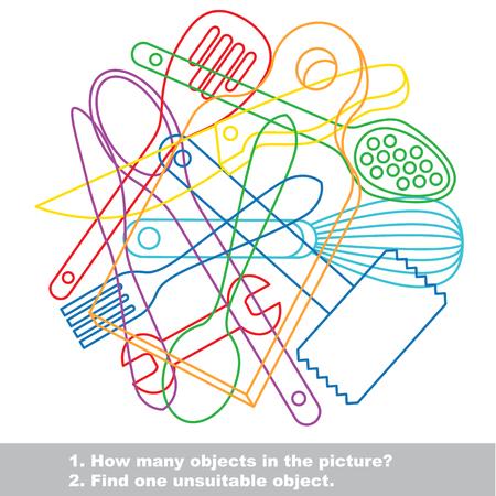 bolter: Utensils mishmash colorful set in vector. Find all hidden objects on the picture. Find one unfit object.