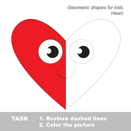 joining the dots: Heart shape in vector colorful to be traced. Restore dashed line and color the picture. Visual game for children. Worksheet to be colored.