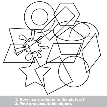 trapezium: Geometric shapes set mishmash set in vector outlined to be colored.  Find all hidden objects on the picture. Visual game for children.