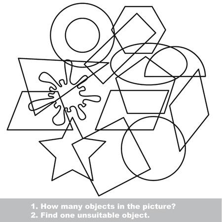 Satz Von Geometrischen Formen Zu Färbenden. Malbuch Für Kinder ...
