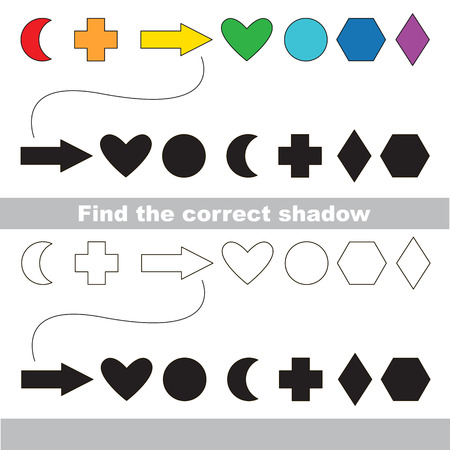 logic: Geometric shapes set with shadows to find the correct one. Compare and connect objects. and their true shadows. Logic game for children. Illustration