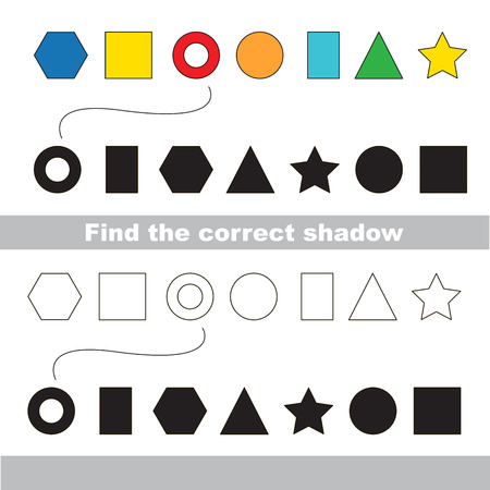 logic: Geometric shapes set with shadows to find the correct one. Colorless version include. Compare and connect objects. and their true shadows. Logic game for children.