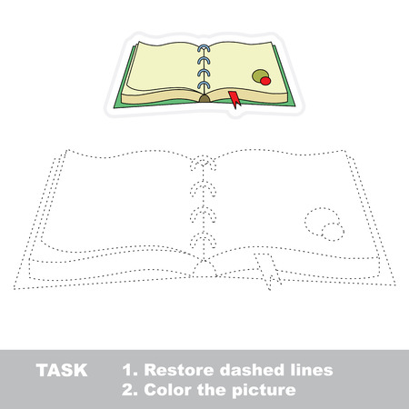 dashed line: Diary in vector to be traced. Restore dashed line and color the picture. Trace game for children. Illustration