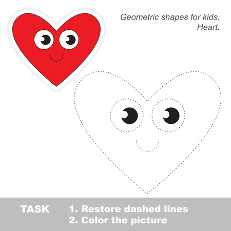 dashed line: Heart shape in vector to be traced. Restore dashed line and color the picture. Trace game for children.