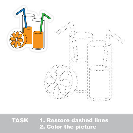 dashed line: Juice in vector to be traced. Restore dashed line and color the picture. Trace game for children.