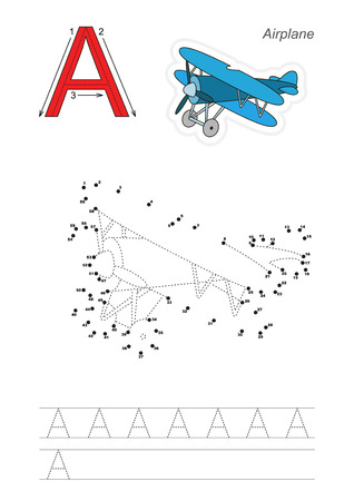 tracing: Vector exercise illustrated alphabet. Learn handwriting. Connect dots by numbers. Tracing worksheet for letter A