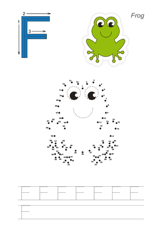 tracing: Vector exercise illustrated alphabet. Learn handwriting. Connect dots by numbers. Tracing worksheet for letter F