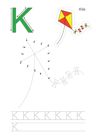 tracing: Vector exercise illustrated alphabet. Learn handwriting. Connect dots by numbers. Tracing worksheet for letter K