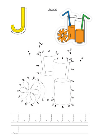 tracing: Vector exercise illustrated alphabet. Learn handwriting. Connect dots by numbers. Tracing worksheet for letter J