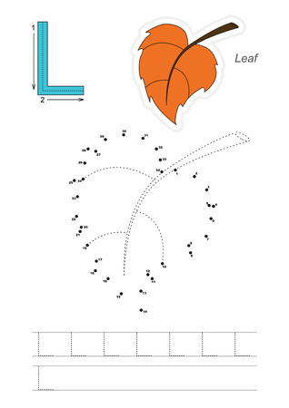tracing: Vector exercise illustrated alphabet. Learn handwriting. Connect dots by numbers. Tracing worksheet for letter L Illustration