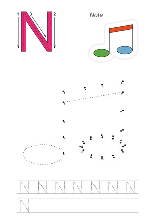 tracing: Vector exercise illustrated alphabet. Learn handwriting. Connect dots by numbers. Tracing worksheet for letter N