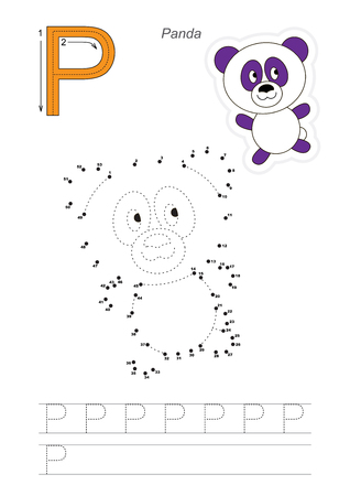 Vector exercise illustrated alphabet. Learn handwriting. Connect dots by numbers. Tracing worksheet for letter P Ilustração