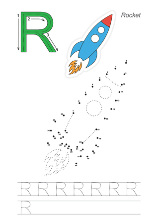 tracing: Vector exercise illustrated alphabet. Learn handwriting. Connect dots by numbers. Tracing worksheet for letter R Illustration