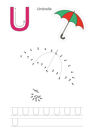 joining the dots: Vector exercise illustrated alphabet. Learn handwriting. Connect dots by numbers. Tracing worksheet for letter U