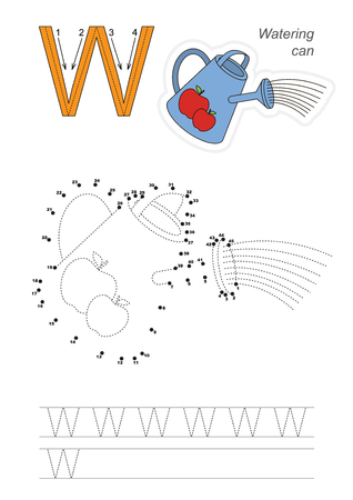 connect the dots: Vector exercise illustrated alphabet. Learn handwriting. Connect dots by numbers. Tracing worksheet for letter W