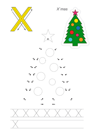 tracing: Vector exercise illustrated alphabet. Learn handwriting. Connect dots by numbers. Tracing worksheet for letter X