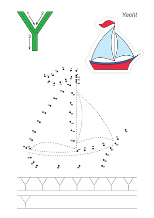 tracing: Vector exercise illustrated alphabet. Learn handwriting. Connect dots by numbers. Tracing worksheet for letter Y Illustration