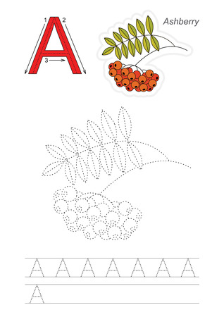joining the dots: Vector exercise illustrated alphabet. Learn handwriting. Page to be traced. Complete english alphabet. Tracing worksheet for letter A