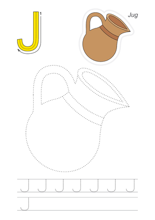 traced: Vector exercise illustrated alphabet. Learn handwriting. Page to be traced. Complete english alphabet. Tracing worksheet for letter J Illustration