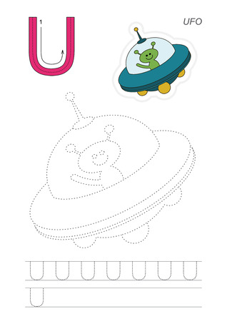 tracing: Vector exercise illustrated alphabet. Learn handwriting. Page to be traced. Complete english alphabet. Tracing worksheet for letter U Illustration