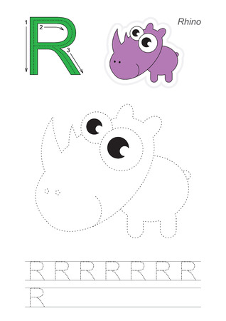 traced: Vector exercise illustrated alphabet. Learn handwriting. Page to be traced. Complete english alphabet. Tracing worksheet for letter R