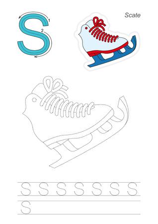 tracing: Vector exercise illustrated alphabet. Learn handwriting. Page to be traced. Complete english alphabet. Tracing worksheet for letter S Illustration