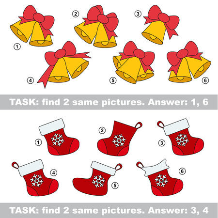 similar: Design different, color equal.  Vector visual game. Task and answer. Find two similar bell and stocking Illustration
