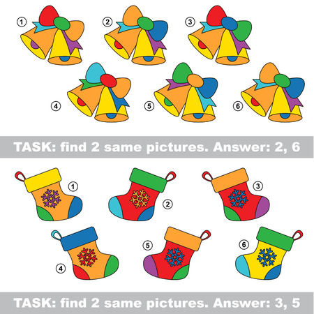 similar: Design equal, color different. Visual vector game. Task and answer. Find two similar bell and stocking Illustration