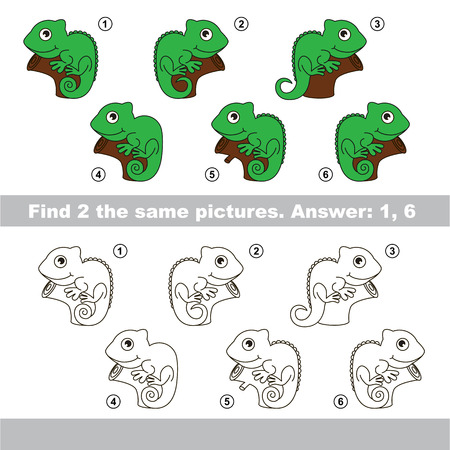 i kids: The design difference.  Vector visual game for children. Task and answer. Find two similar Iguanas