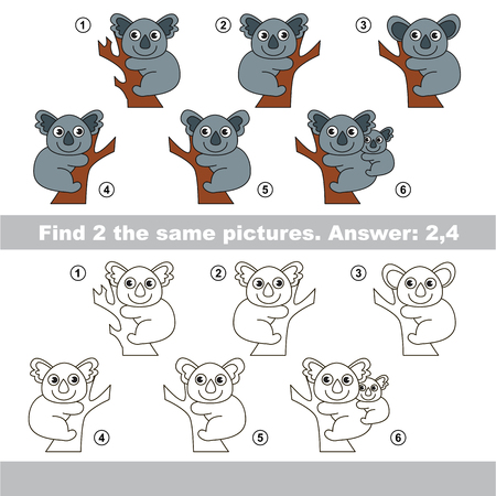 similar: The design difference.  Vector visual game for children. Task and answer. Find two similar Koalas