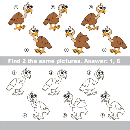 visual: The design difference.  Vector visual game for children. Task and answer. Find two similar Vultures Illustration