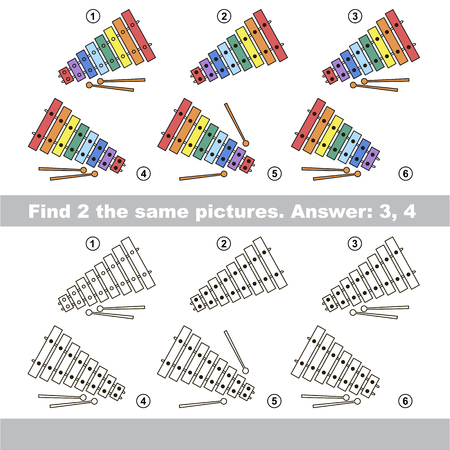 visual: The design difference.  Vector visual game for children. Task and answer. Find two similar Xylophones