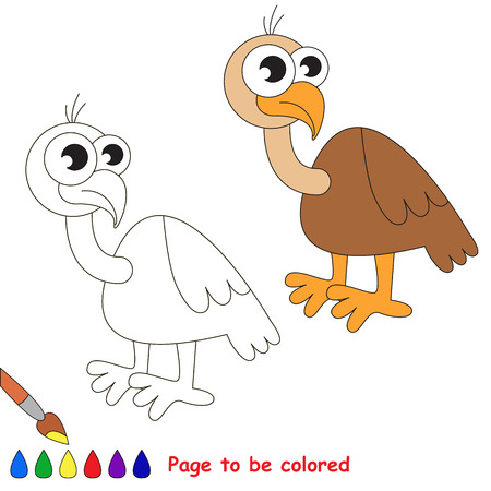 vulture: Vulture to be colored. Coloring book for children. Visual game.