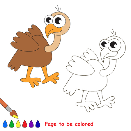 vulture: Cute Vulture to be colored. Coloring book for children. Visual game.