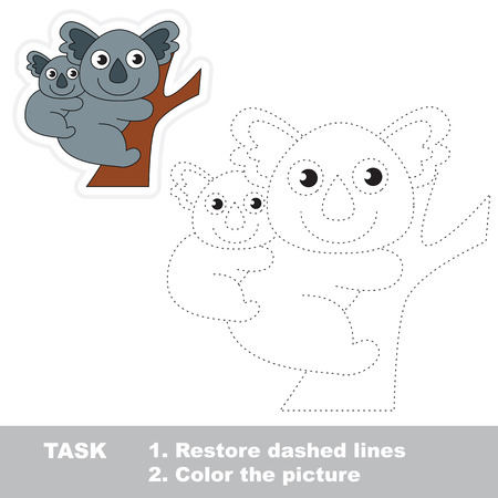 restore: Koala in vector to be traced. Restore dashed line and color the picture. Trace game for children.