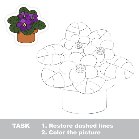 joining the dots: Violet in vector to be traced. Restore dashed line and color the picture. Trace game for children. Illustration