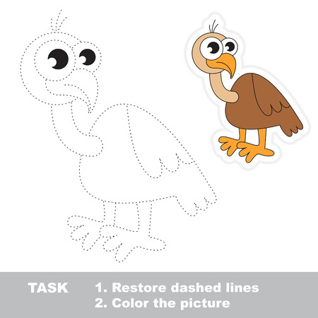 dashed line: Vulture in vector to be traced. Restore dashed line and color the picture. Trace game for children. Illustration