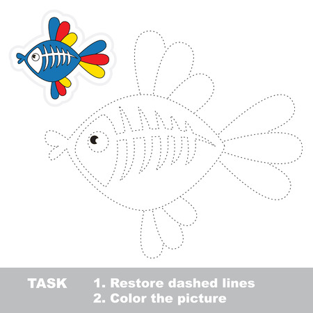 restore: X-ray fish in vector to be traced. Restore dashed line and color the picture. Trace game for children. Illustration