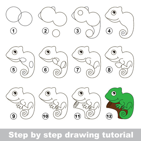 iguana: Drawing tutorial for children. How to draw the funny Iguana