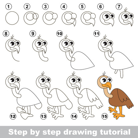 vulture: Drawing tutorial for children. How to draw the funny Vulture Illustration