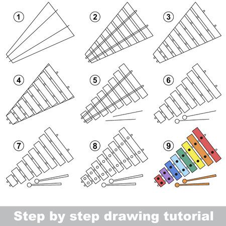 xilofono: Tutorial de dibujo para los niños. Cómo dibujar el xilófono divertido